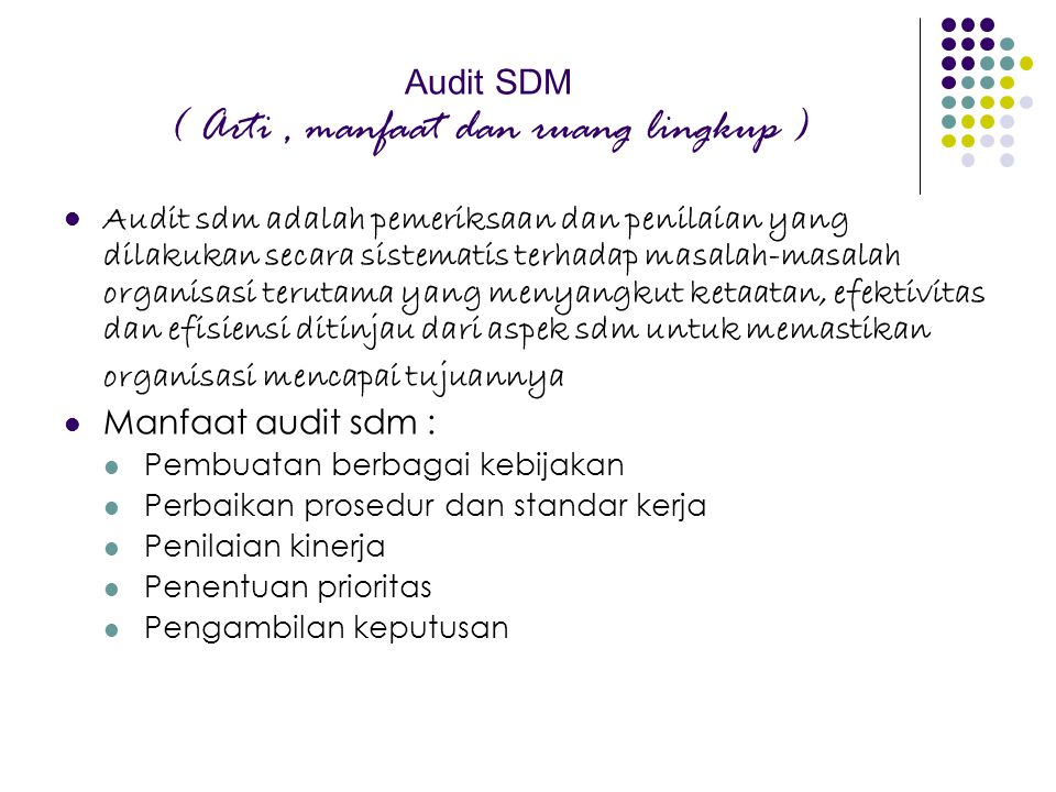 Audit SDM ( Arti , manfaat dan ruang lingkup )