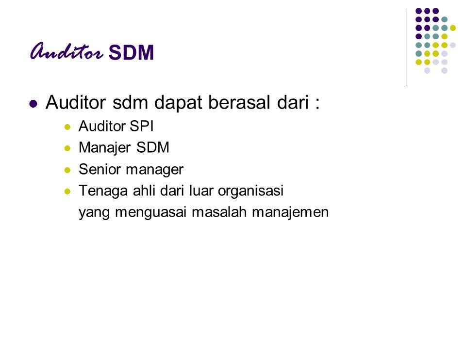 Auditor SDM Auditor sdm dapat berasal dari : Auditor SPI Manajer SDM