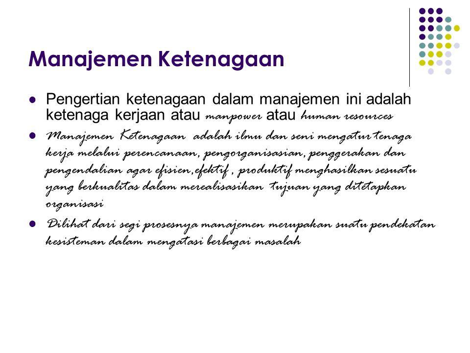 Manajemen Ketenagaan Pengertian ketenagaan dalam manajemen ini adalah ketenaga kerjaan atau manpower atau human resources.
