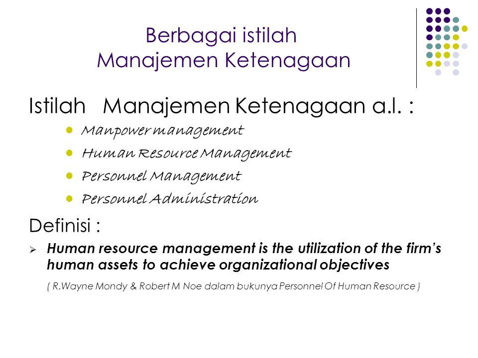 Berbagai istilah Manajemen Ketenagaan