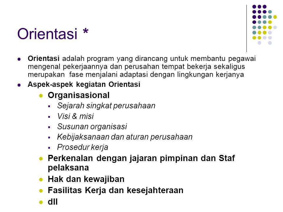 Orientasi * Organisasional