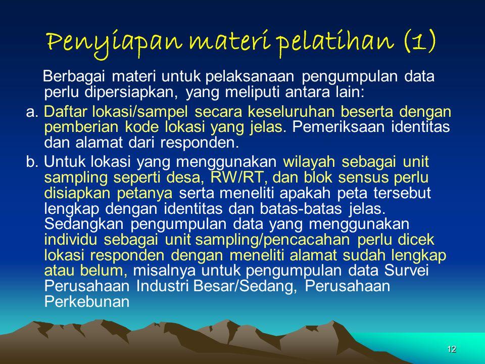 Penyiapan materi pelatihan (1)