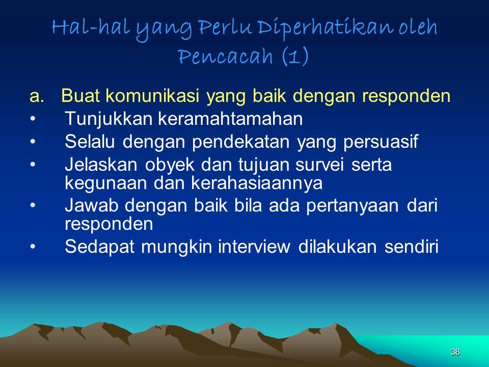 Hal-hal yang Perlu Diperhatikan oleh Pencacah (1)