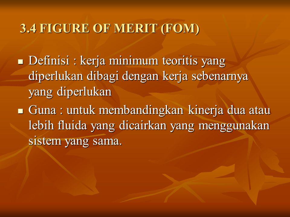 3.4 FIGURE OF MERIT (FOM) Definisi : kerja minimum teoritis yang diperlukan dibagi dengan kerja sebenarnya yang diperlukan.