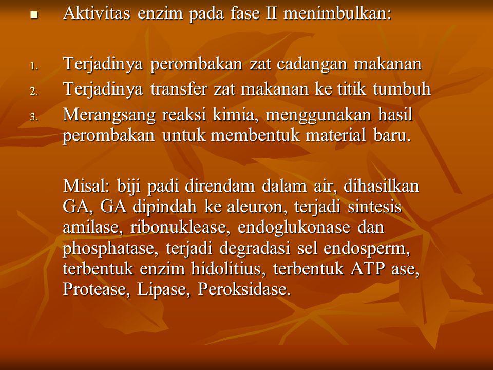 Aktivitas enzim pada fase II menimbulkan: