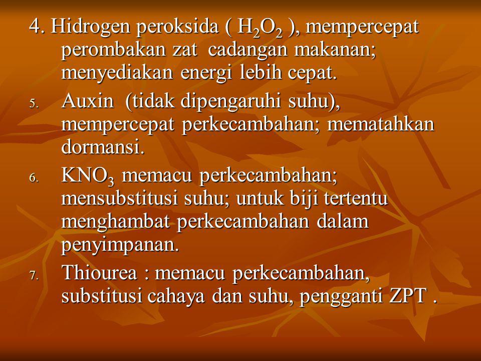 4. Hidrogen peroksida ( H2O2 ), mempercepat perombakan zat cadangan makanan; menyediakan energi lebih cepat.