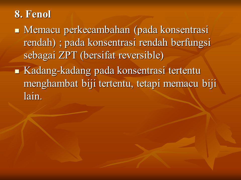 8. Fenol Memacu perkecambahan (pada konsentrasi rendah) ; pada konsentrasi rendah berfungsi sebagai ZPT (bersifat reversible)