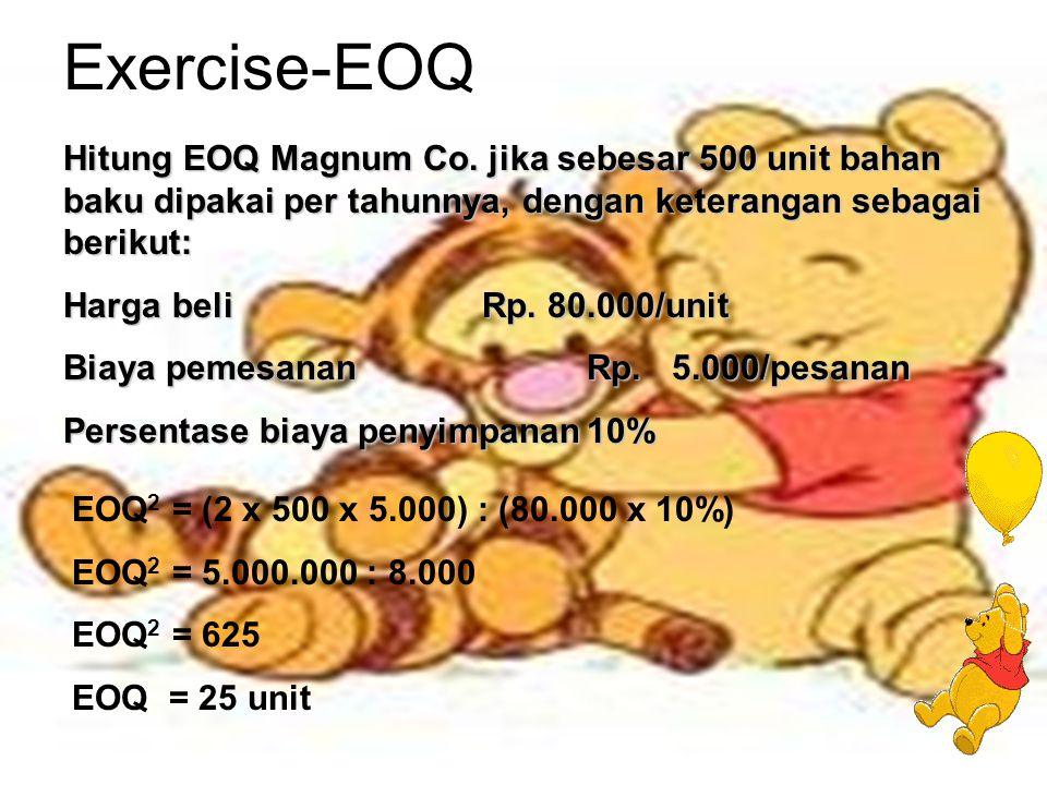 Exercise-EOQ Hitung EOQ Magnum Co. jika sebesar 500 unit bahan baku dipakai per tahunnya, dengan keterangan sebagai berikut:
