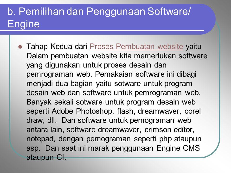 b. Pemilihan dan Penggunaan Software/ Engine