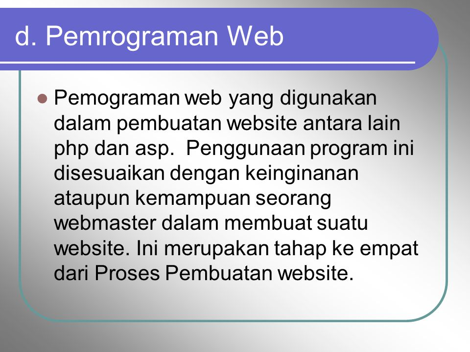 d. Pemrograman Web