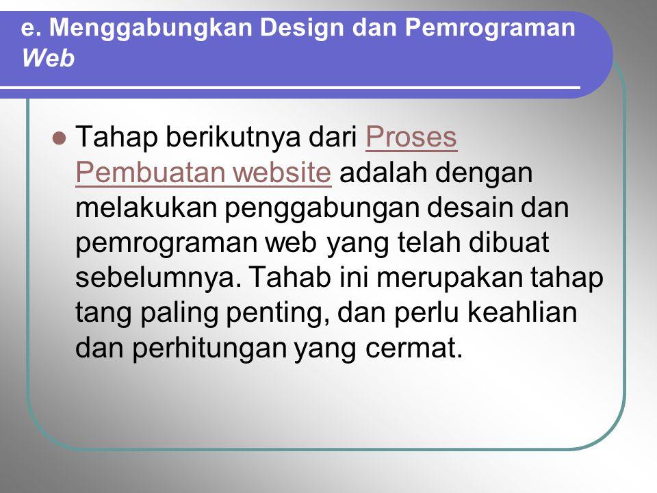 e. Menggabungkan Design dan Pemrograman Web