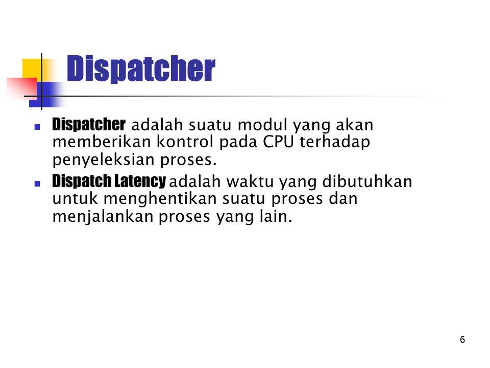 Dispatcher Dispatcher adalah suatu modul yang akan memberikan kontrol pada CPU terhadap penyeleksian proses.