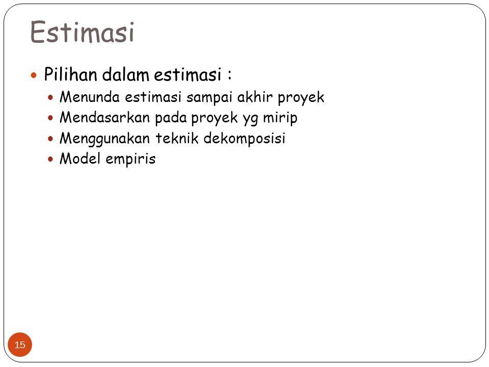Estimasi Pilihan dalam estimasi : Menunda estimasi sampai akhir proyek