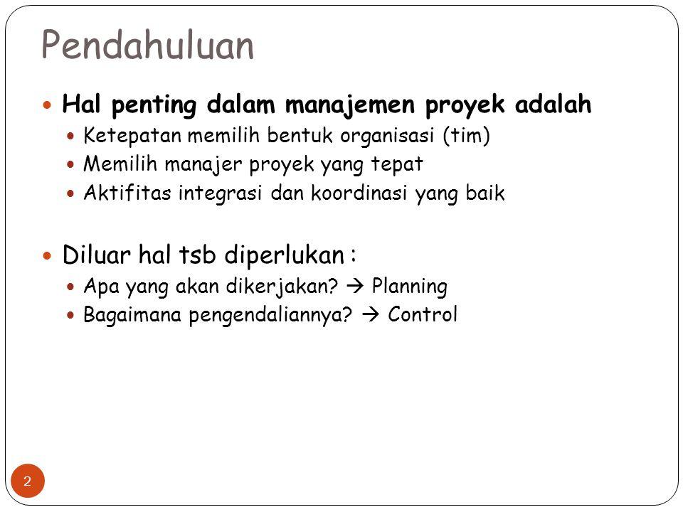 Pendahuluan Hal penting dalam manajemen proyek adalah