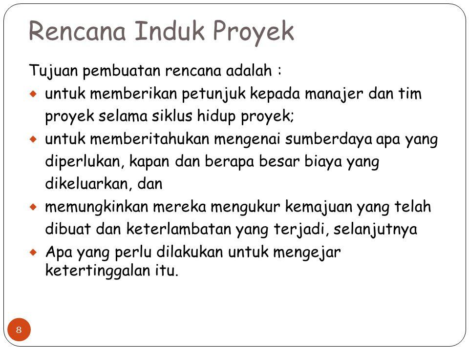Rencana Induk Proyek Tujuan pembuatan rencana adalah :