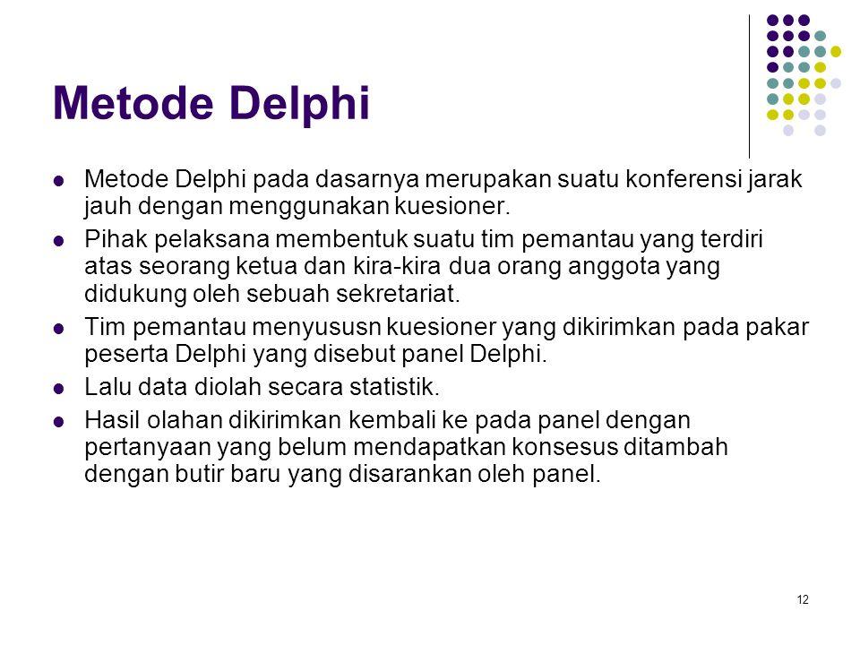 Metode Delphi Metode Delphi pada dasarnya merupakan suatu konferensi jarak jauh dengan menggunakan kuesioner.