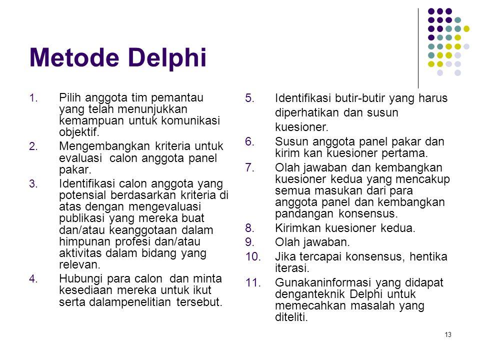 Metode Delphi Pilih anggota tim pemantau yang telah menunjukkan kemampuan untuk komunikasi objektif.
