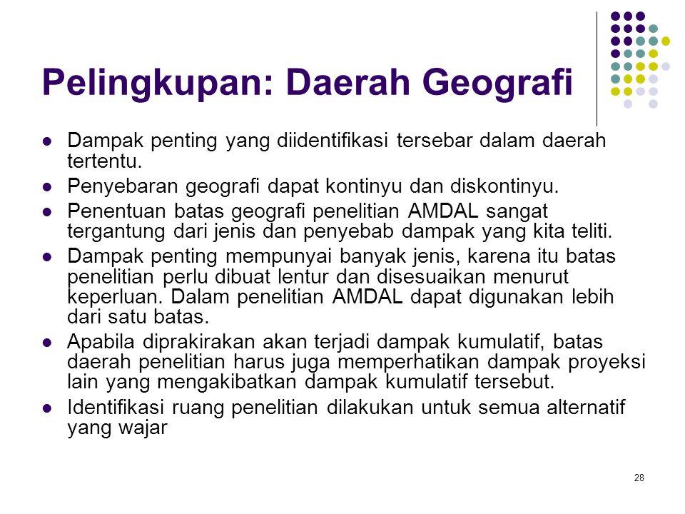 Pelingkupan: Daerah Geografi