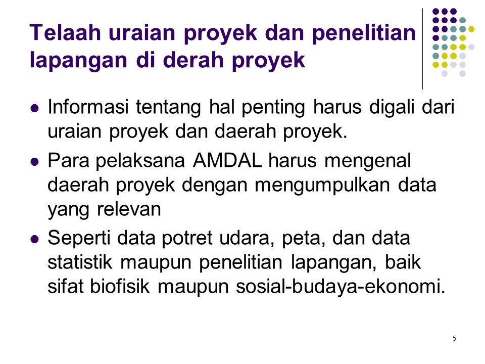 Telaah uraian proyek dan penelitian lapangan di derah proyek