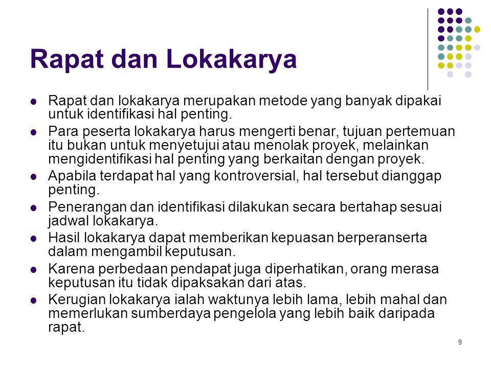 Rapat dan Lokakarya Rapat dan lokakarya merupakan metode yang banyak dipakai untuk identifikasi hal penting.