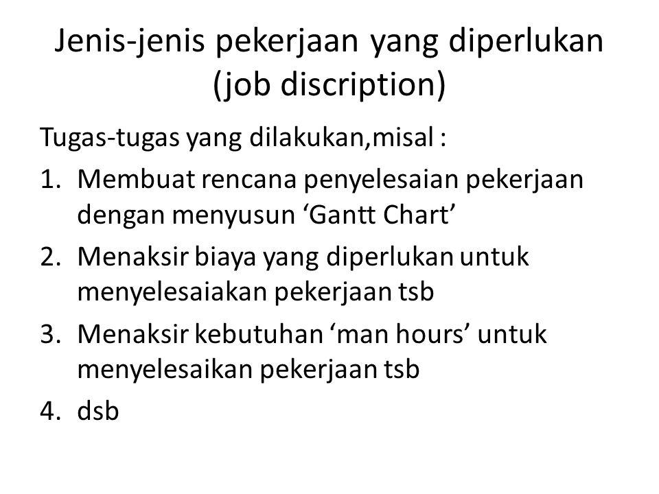 Jenis-jenis pekerjaan yang diperlukan (job discription)