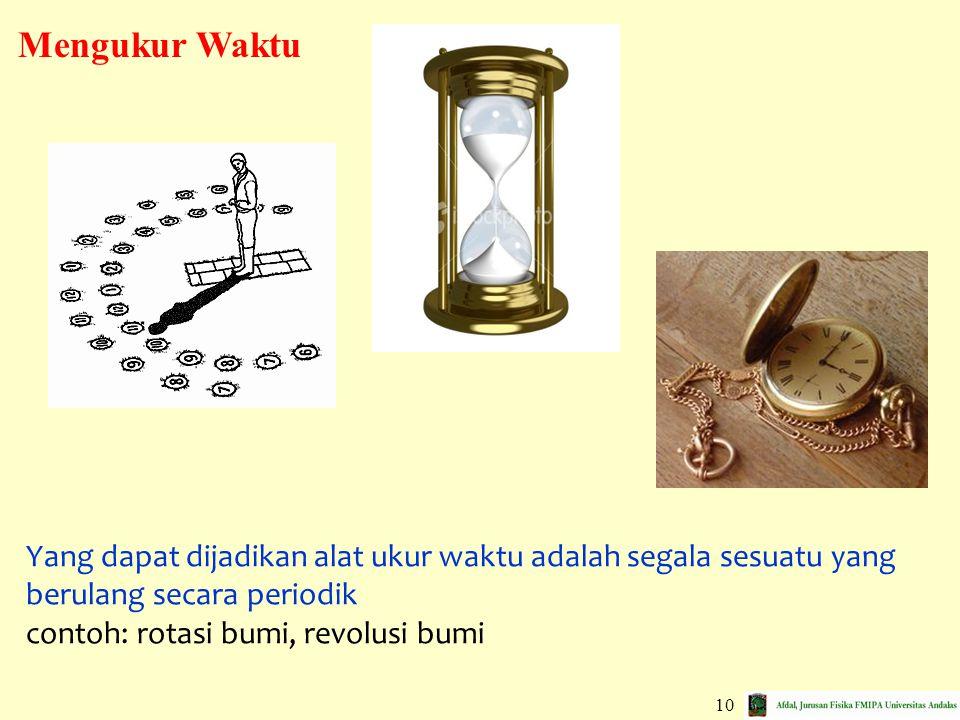 Mengukur Waktu Yang dapat dijadikan alat ukur waktu adalah segala sesuatu yang berulang secara periodik.