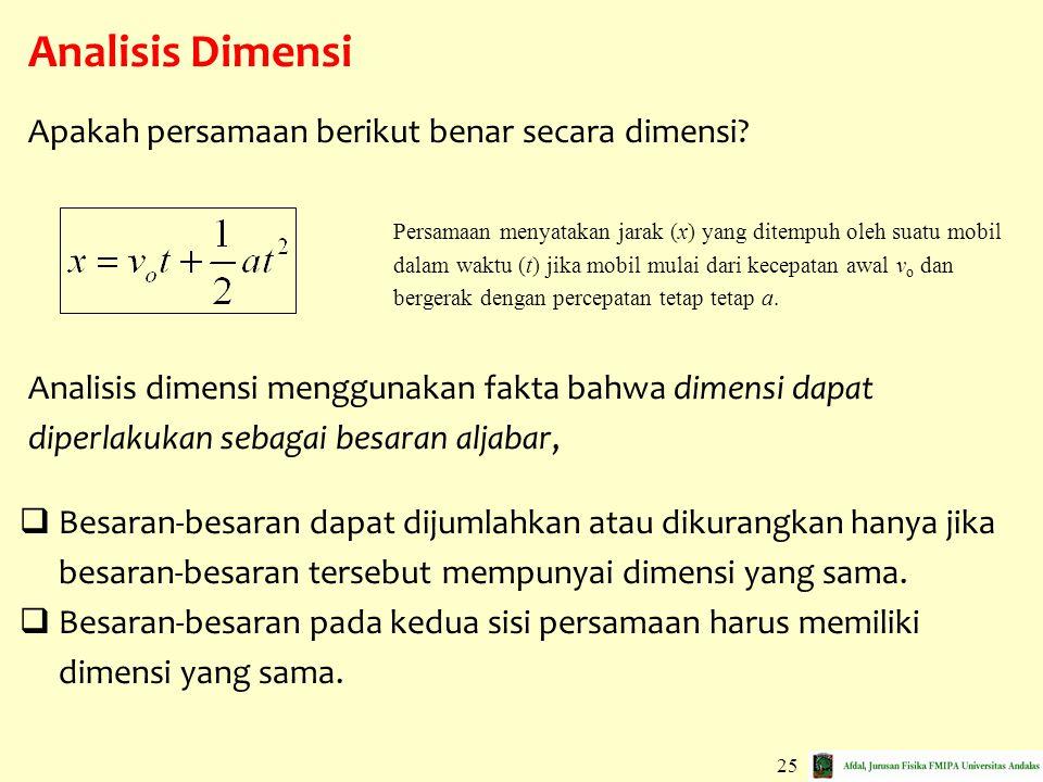 Analisis Dimensi Apakah persamaan berikut benar secara dimensi