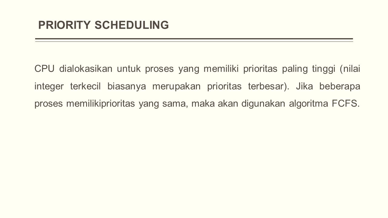 PRIORITY SCHEDULING