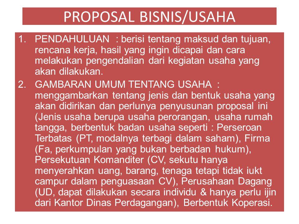 PROPOSAL BISNIS/USAHA