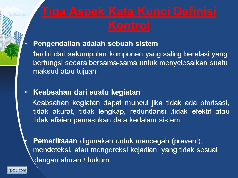 Tiga Aspek Kata Kunci Definisi Kontrol