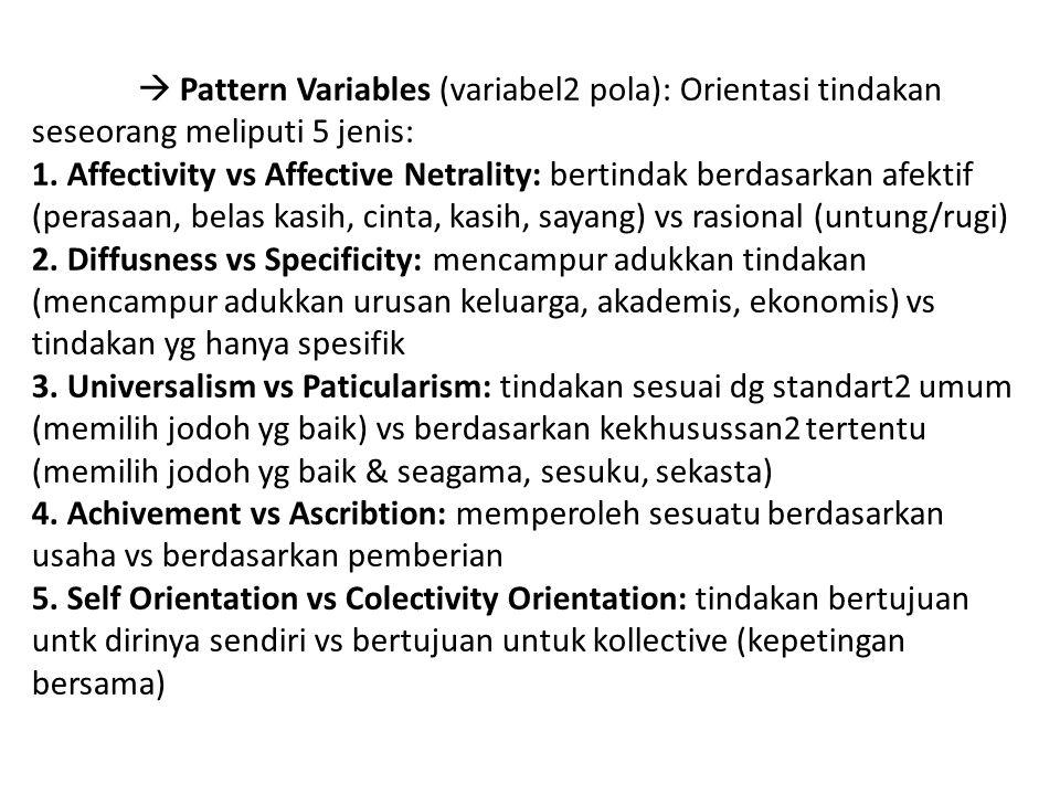  Pattern Variables (variabel2 pola): Orientasi tindakan seseorang meliputi 5 jenis: 1. Affectivity vs Affective Netrality: bertindak berdasarkan afektif (perasaan, belas kasih, cinta, kasih, sayang) vs rasional (untung/rugi) 2. Diffusness vs Specificity: mencampur adukkan tindakan (mencampur adukkan urusan keluarga, akademis, ekonomis) vs tindakan yg hanya spesifik 3. Universalism vs Paticularism: tindakan sesuai dg standart2 umum (memilih jodoh yg baik) vs berdasarkan kekhusussan2 tertentu (memilih jodoh yg baik & seagama, sesuku, sekasta) 4. Achivement vs Ascribtion: memperoleh sesuatu berdasarkan usaha vs berdasarkan pemberian 5. Self Orientation vs Colectivity Orientation: tindakan bertujuan untk dirinya sendiri vs bertujuan untuk kollective (kepetingan bersama)