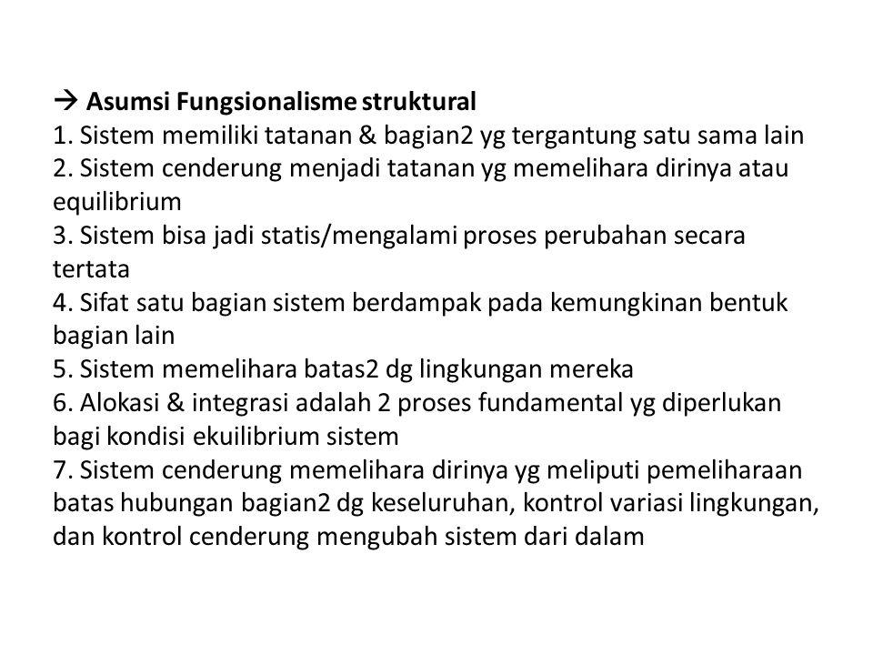  Asumsi Fungsionalisme struktural 1