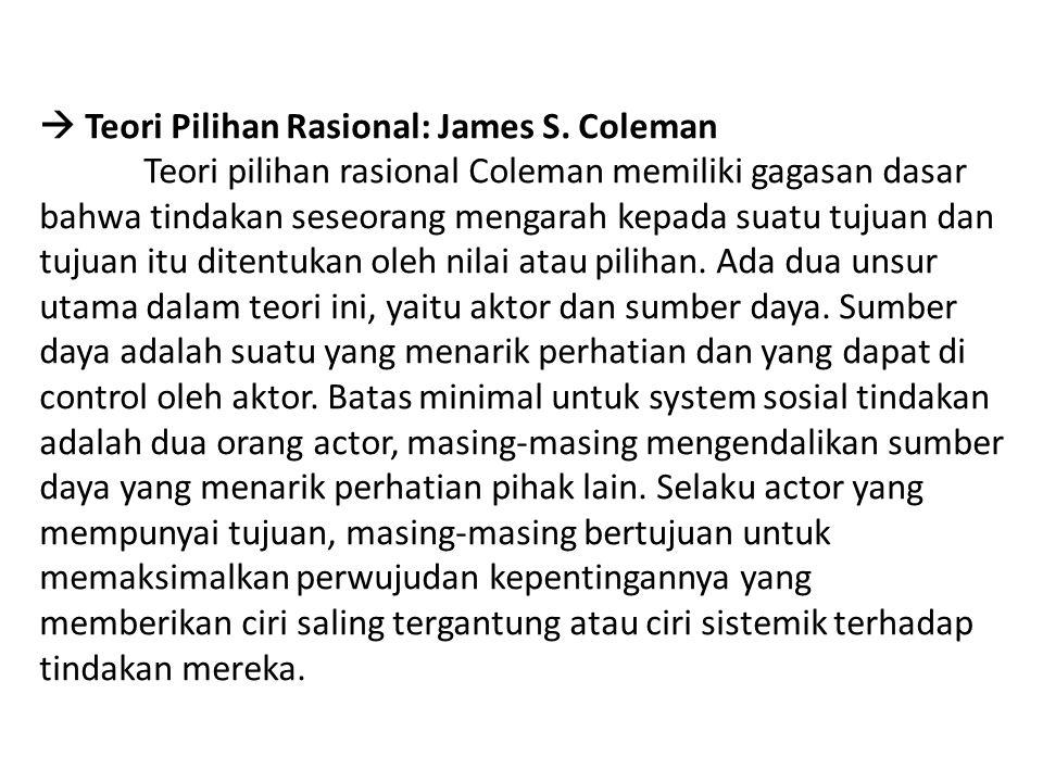  Teori Pilihan Rasional: James S. Coleman