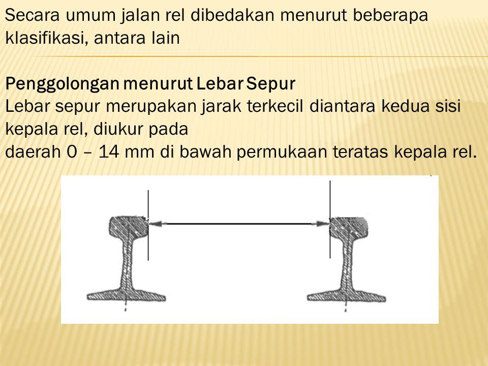 Secara umum jalan rel dibedakan menurut beberapa klasifikasi, antara lain