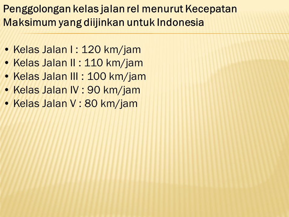 Penggolongan kelas jalan rel menurut Kecepatan Maksimum yang diijinkan untuk Indonesia
