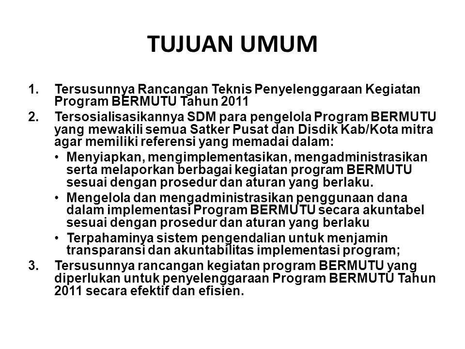 TUJUAN UMUM Tersusunnya Rancangan Teknis Penyelenggaraan Kegiatan Program BERMUTU Tahun 2011.