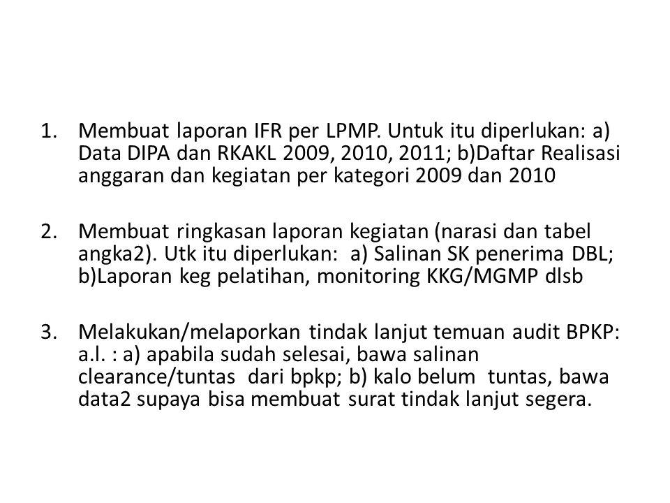 Membuat laporan IFR per LPMP