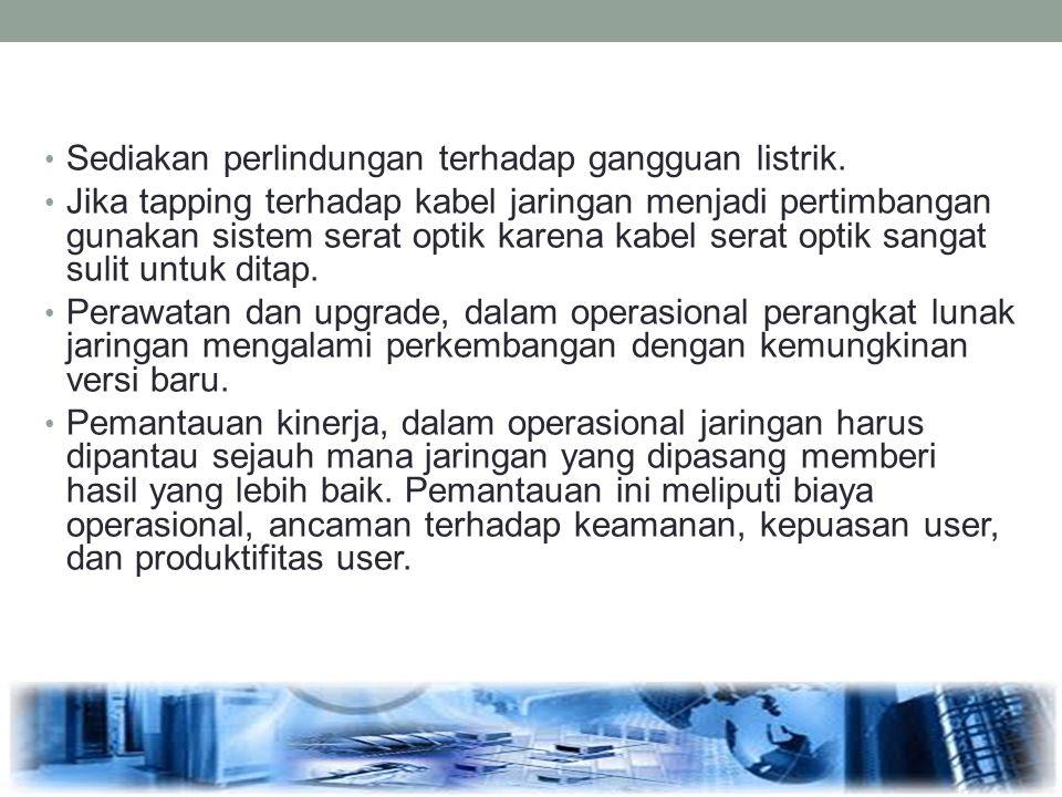 Sediakan perlindungan terhadap gangguan listrik.