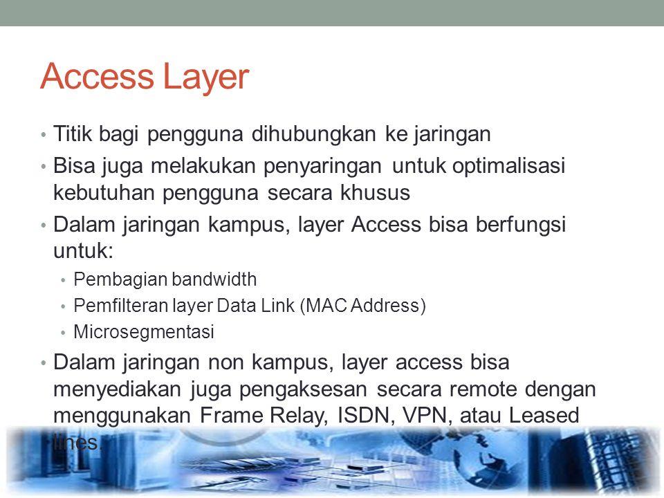 Access Layer Titik bagi pengguna dihubungkan ke jaringan