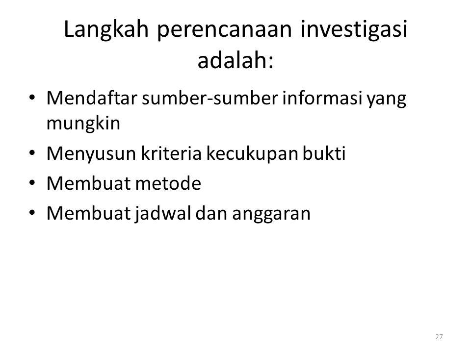 Langkah perencanaan investigasi adalah:
