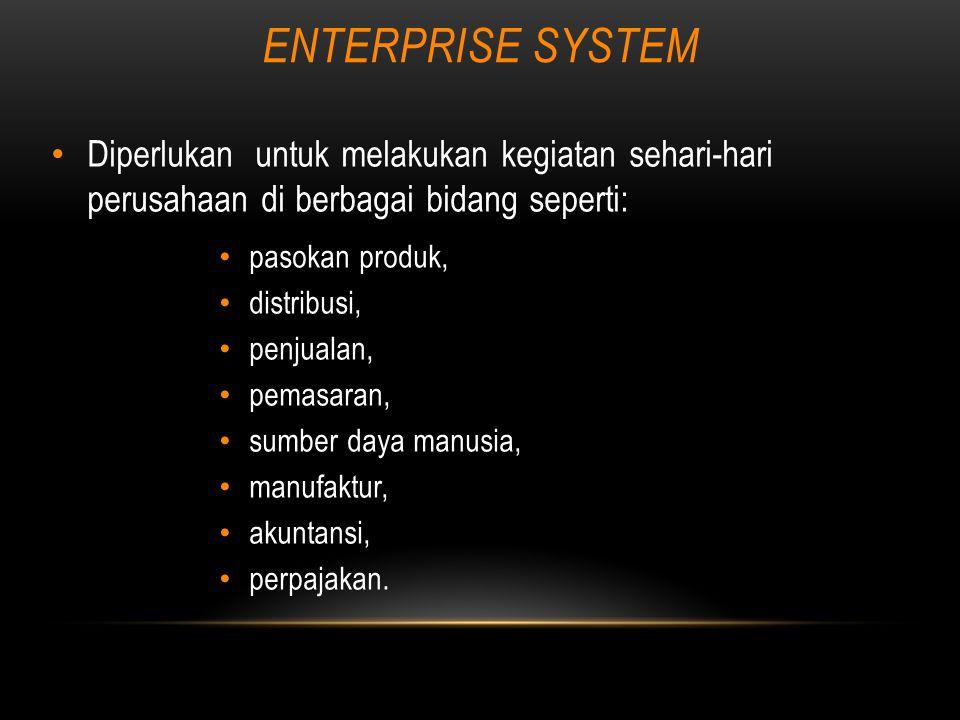 ENTERPRISE SYSTEM Diperlukan untuk melakukan kegiatan sehari-hari perusahaan di berbagai bidang seperti: