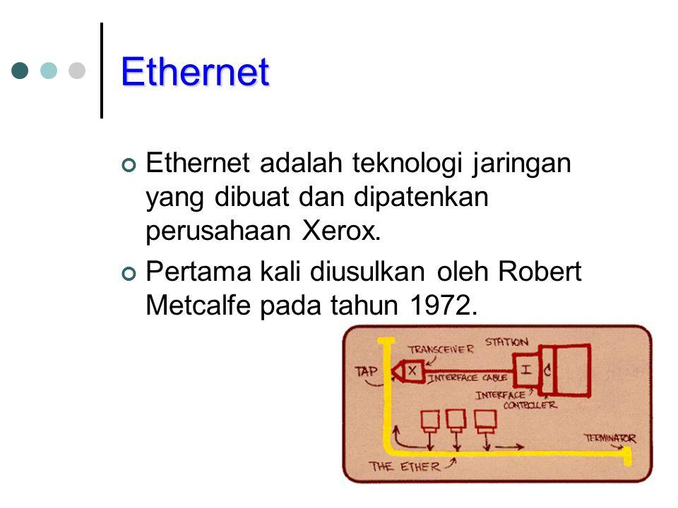 Ethernet Ethernet adalah teknologi jaringan yang dibuat dan dipatenkan perusahaan Xerox.