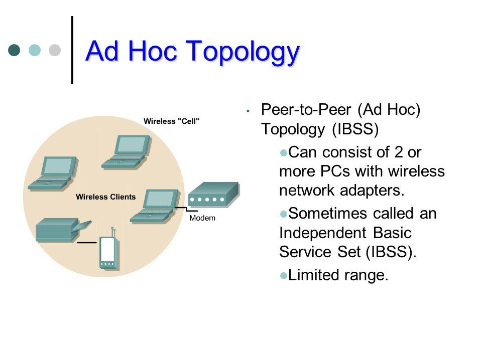 Ad Hoc Topology Peer-to-Peer (Ad Hoc) Topology (IBSS)