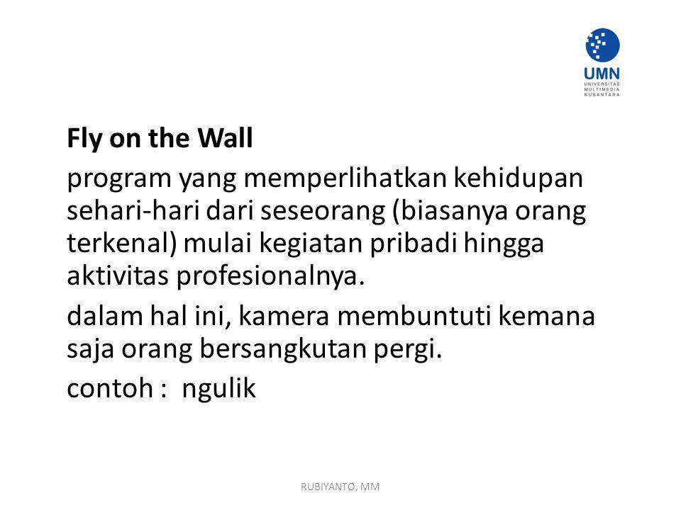 Fly on the Wall program yang memperlihatkan kehidupan sehari-hari dari seseorang (biasanya orang terkenal) mulai kegiatan pribadi hingga aktivitas profesionalnya. dalam hal ini, kamera membuntuti kemana saja orang bersangkutan pergi. contoh : ngulik