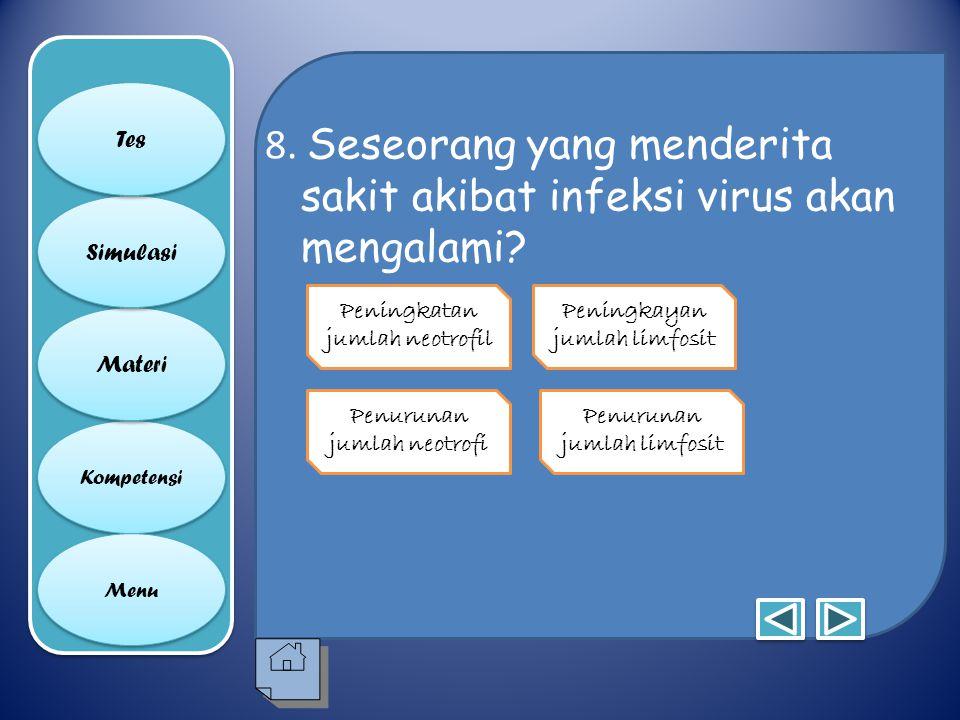 8. Seseorang yang menderita sakit akibat infeksi virus akan mengalami