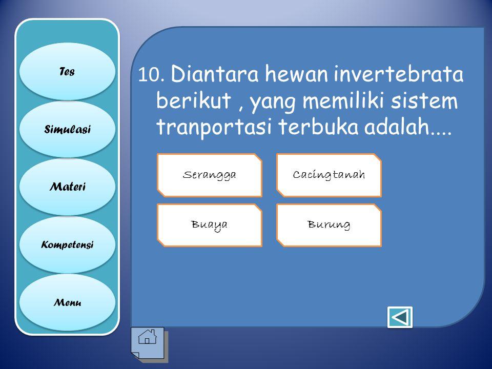 10. Diantara hewan invertebrata berikut , yang memiliki sistem tranportasi terbuka adalah....