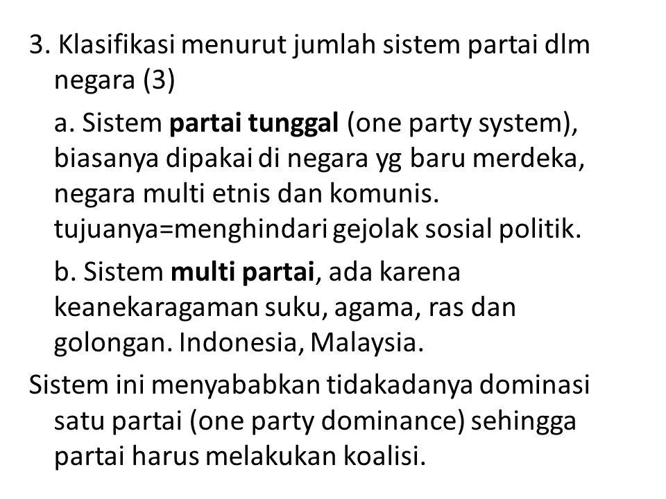 3. Klasifikasi menurut jumlah sistem partai dlm negara (3) a