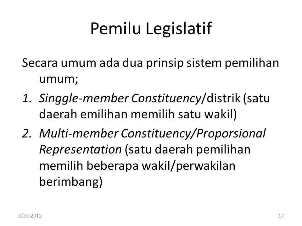 Pemilu Legislatif Secara umum ada dua prinsip sistem pemilihan umum;
