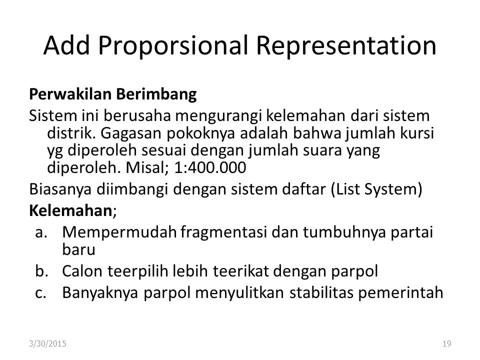 Add Proporsional Representation