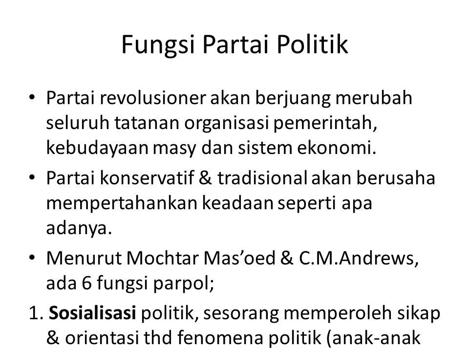 Fungsi Partai Politik Partai revolusioner akan berjuang merubah seluruh tatanan organisasi pemerintah, kebudayaan masy dan sistem ekonomi.